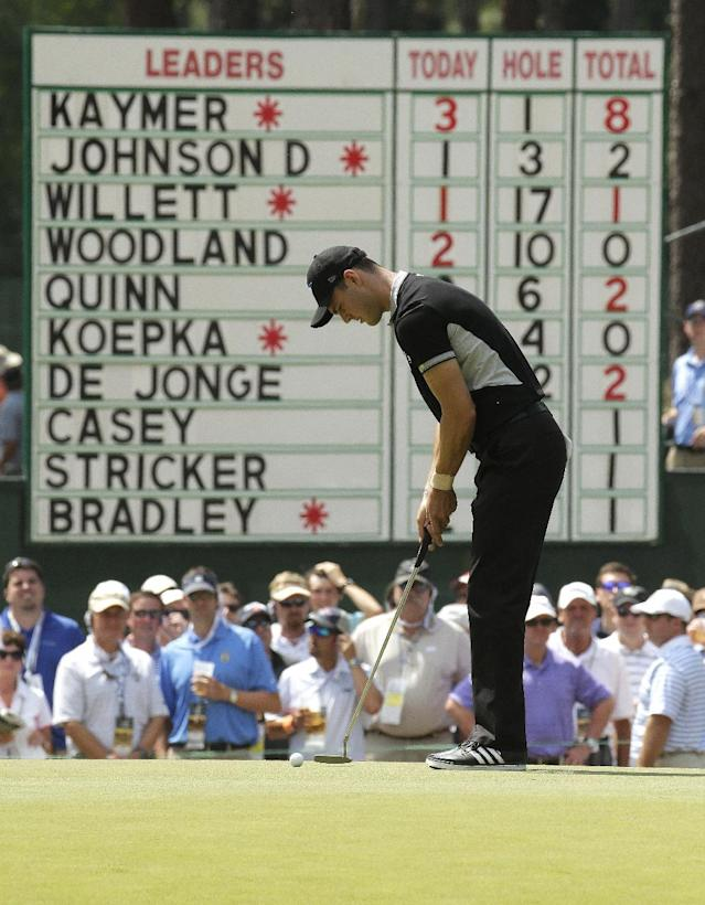 Martin Kaymer, of Germany, putts on the second hole during the second round of the U.S. Open golf tournament in Pinehurst, N.C., Friday, June 13, 2014. (AP Photo/Charlie Riedel)