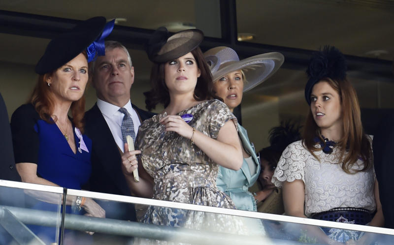Horse Racing - Royal Ascot - Ascot Racecourse - 19/6/15 Princess Beatrice of York, Princess Eugenie of York, Sarah Ferguson, Duchess of York and Prince Andrew, Duke of York Reuters / Toby Melville Livepic