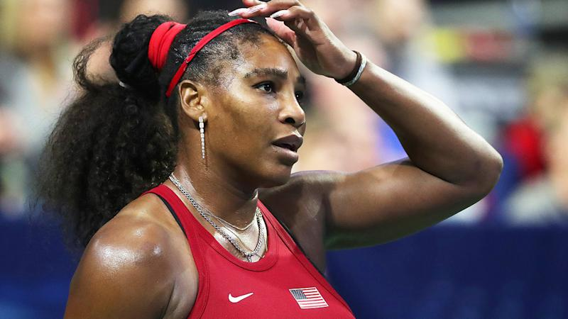 Serena Williams is pictured reacting to a point during the 2020 Fed Cup.
