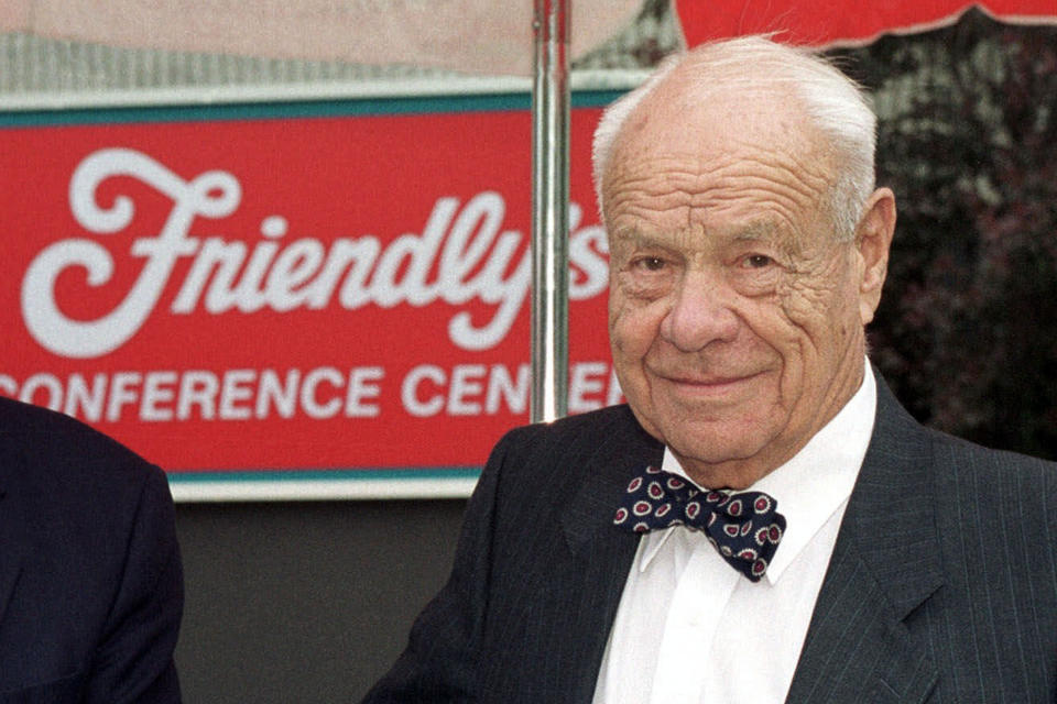 FILE — In this May 16, 2001, file photo, S. Prestley Blake, co-founder of the Friendly Ice Cream Corp., is shown outside the Friendly company conference center in West Springfield, Mass. S. Prestley Blake, who co-founded the Friendly's restaurant chain with his younger brother Curtis, in Springfield, in 1935, died Thursday, Feb. 11, 2021. He was 106. (AP Photo/Nancy Palmieri, File)