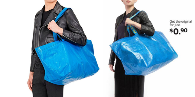 From left to right, Balenciaga's ad featuring its blue tote vs. Ikea's ad featuring its blue tote with its price displayed in the top right corner. (Photo: Balenciaga/Ikea)