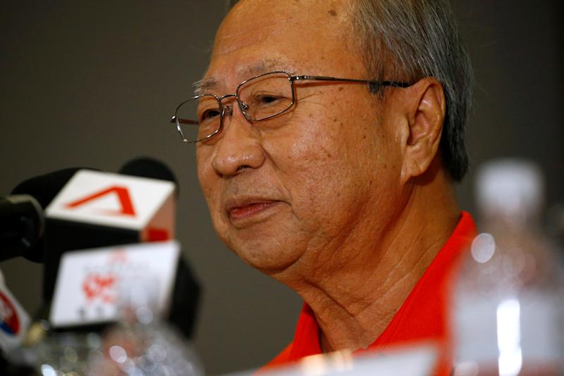 Leader of the newly-launched Progress Singapore Party (PSP) Tan Cheng Bock speaks to members of the media at a press conference in Singapore July 26, 2019. REUTERS/Feline Lim