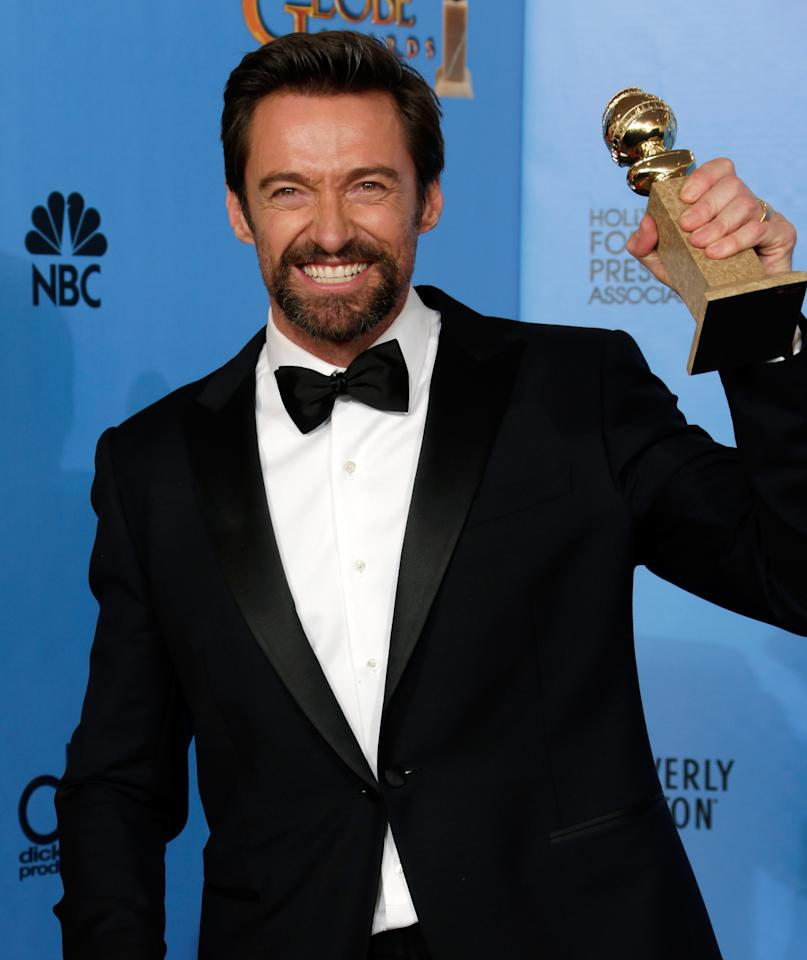 Hugh Jackman poses in the press room at the 70th Annual Golden Globe Awards held at The Beverly Hilton Hotel on January 13, 2013 in Beverly Hills, California. (Photo by Jeff Vespa/WireImage)