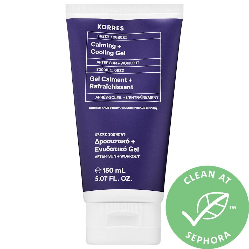 <p>This <span>Korres Greek Yoghurt Calming + Cooling Gel</span> ($26) can not only help soothe sensitive skin (thanks to the probiotics in its real Greek yogurt), but it's also rather nice post-workout when stocked in the fridge for a chilly solution for redness.</p>