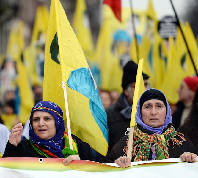 Kurdish woman at a rally in Strasbourg, France, on February 15, 2013 to call for the release of Abdullah Ocalan (AFP Photo/Patrick Hertzog)