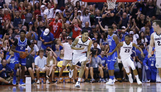 Gonzaga leaned on hot shooting, aggression and experience to hand Duke its first loss on Wednesday. (AP)