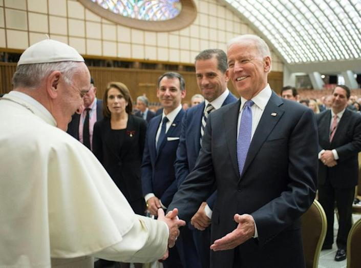 Pope Francis is seen receiving then-US vice president Joe Biden during a visit to the Vatican on April 29, 2016; Biden hopes to lure away Catholics who voted for Donald Trump that year