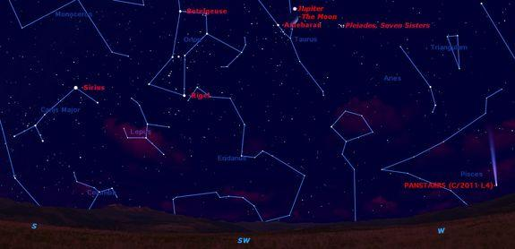 On Sunday night, March 17, say farewell to the winter sky in the western twilight.