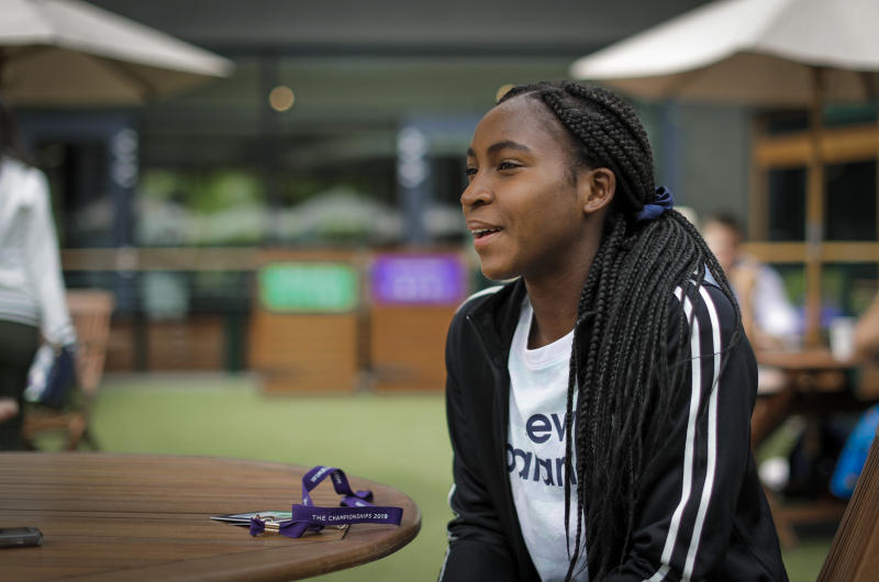 "United States' Cori ""Coco"" Gauff speaks to The Associated Press during the Wimbledon Tennis Championships in London, Tuesday, July 9, 2019. A day after her memorable Wimbledon ended, Coco Gauff already was thinking about coming back. ""Obviously, there's always room for improvement,"" Gauff said in an interview with The Associated Press at the All England Club on Tuesday.(AP Photo/Ben Curtis)"