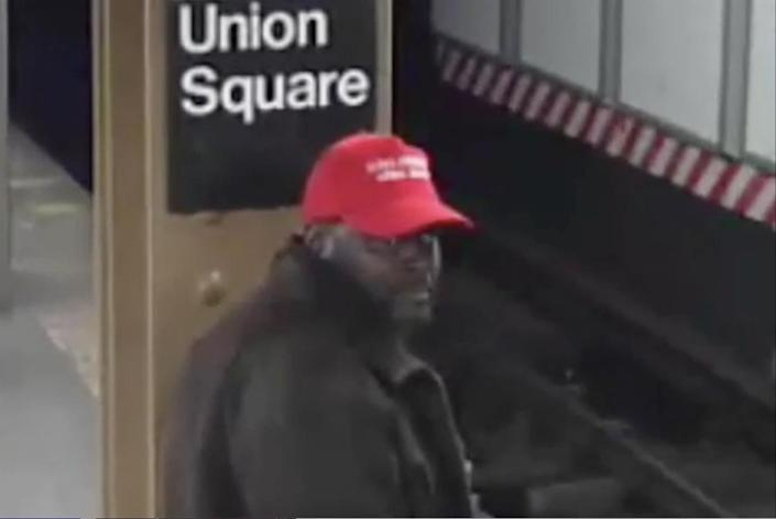 Image from surveillance footage of a suspect the New York Police Department is seeking in conjunction with a hate crime investigation involving a subway assault. (Photo: NYPD)