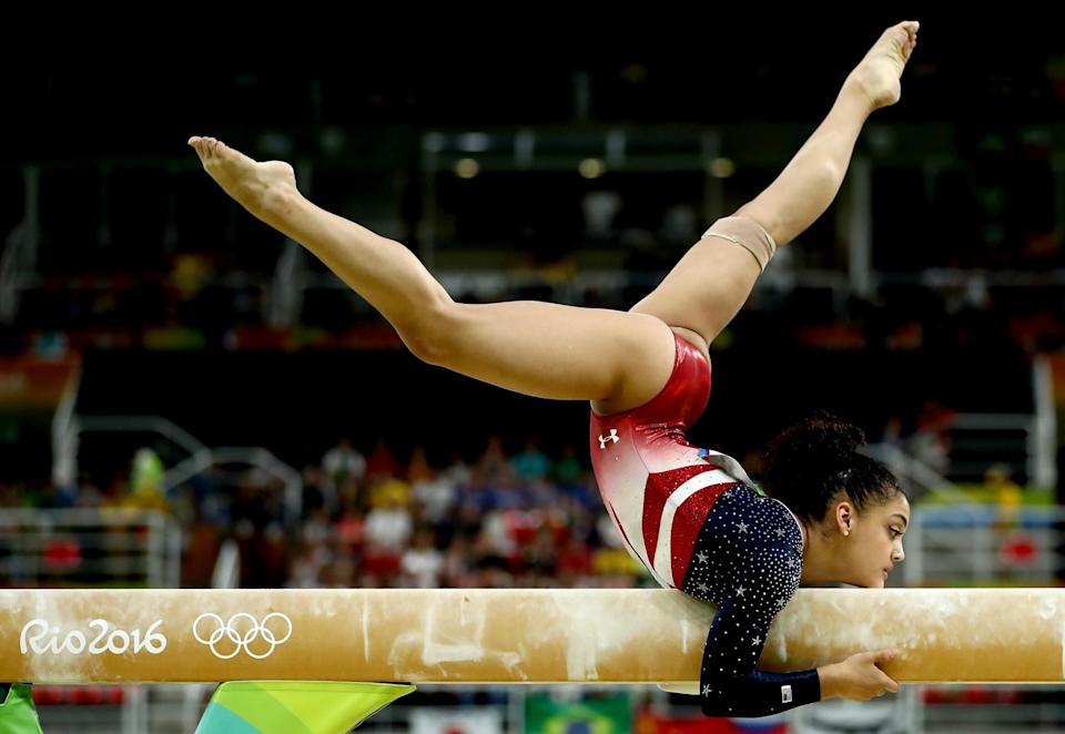 <p>Lauren Hernandez of the United States competes on the balance beam during the Artistic Gymnastics Women's Team Final on Day 4 of the Rio 2016 Olympic Games at the Rio Olympic Arena on August 9, 2016 in Rio de Janeiro, Brazil. (Photo by Lars Baron/Getty Images) </p>