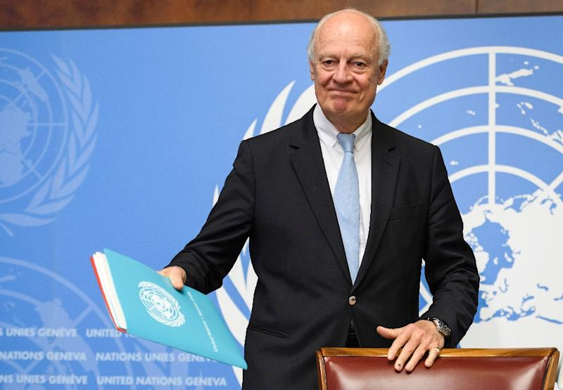 UN Special Envoy for Syria Staffan de Mistura at a press conference on the eve of the new round of peace talks (AFP Photo/Fabrice COFFRINI)