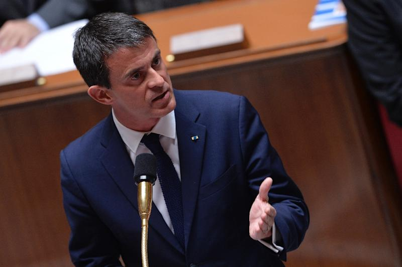 French Prime minister Manuel Valls delivers a speech during a session of Questions to the Government, on June 24, 2015 at the National Assembly in Paris (AFP Photo/Miguel Medina)