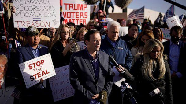 PHOTO: Former Nevada Attorney General Adam Laxalt speaks during a news conference outside of the Clark County Election Department, Sunday, Nov. 8, 2020, in North Las Vegas.  (John Locher/AP)