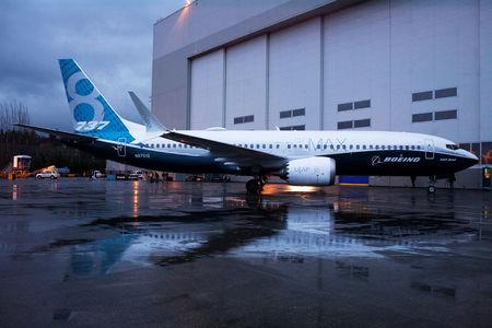 FILE PHOTO: A Boeing 737 MAX 8 sits outside the hangar during a media tour of the plane at the Boeing plant in Renton, Washington