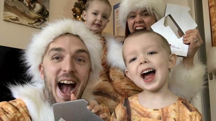 On a roll: LadBaby is again joined by his wife Roxanne and their children on his latest festive hit