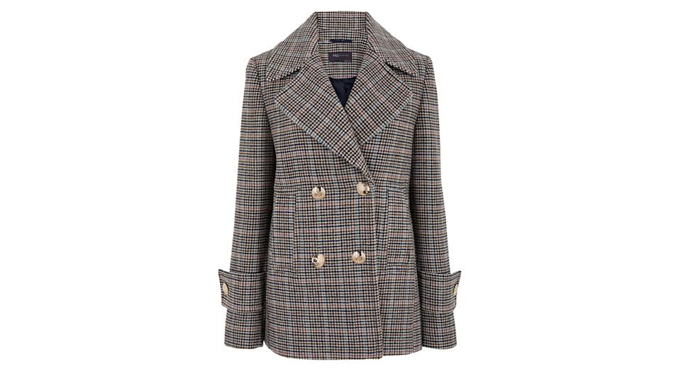 Checked Pea Coat with Wool