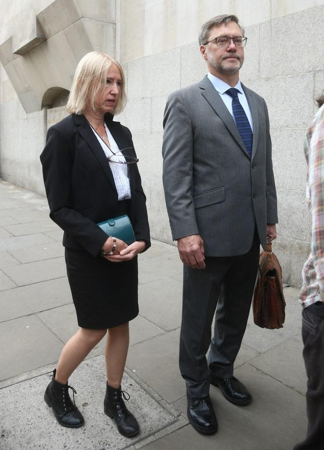 John Letts and Sally Lane arrive at the Old Bailey