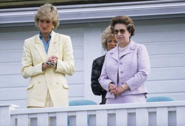 <p>Queen Elizabeth and Princess Diana take in one of Charles' spring polo matches at the Guards Polo Club in 1987. </p>