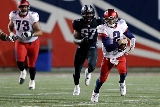 Johnny Manziel made his debut for the Memphis Express of the AAF on Sunday night. (AP Photo/Wade Payne)