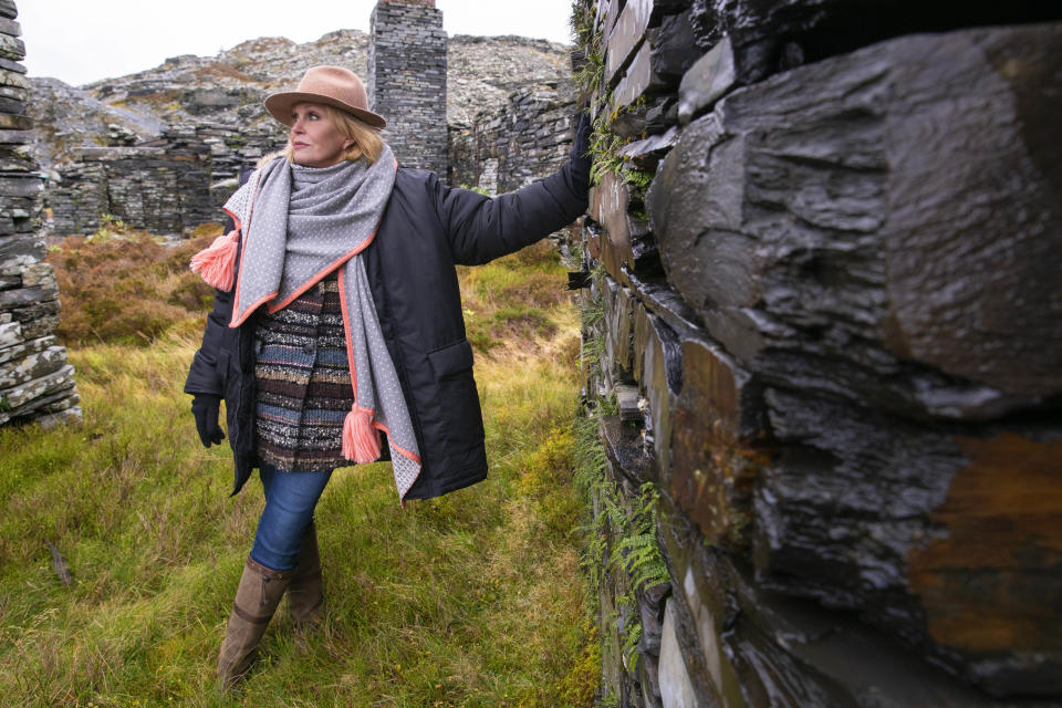 Joanna Lumley visits the Llechwedd Slate quarry in Wales. (ITV)