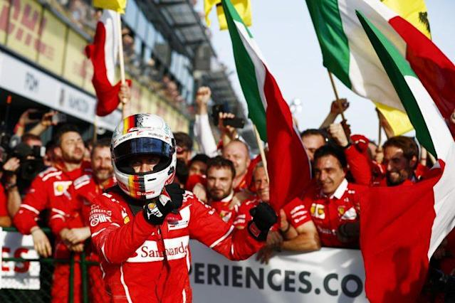 Red letter day: Sebastian Vettel's Ferrari victory has been a long, long time coming for the tifosi