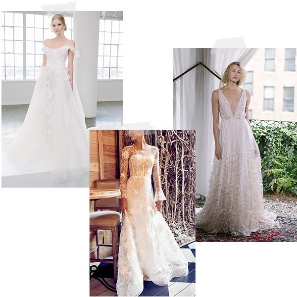 <h2>Wedding Dresses</h2>                                                                                                                                                                             <p><p>Three silhouettes stand out for 2018—plunging V-necks, lingerie-like corset-style bodices and romantic off-the-shoulder shapes. Ethereal overlays, intricate appliqués and textural embellishments are total showstoppers.</p>                                                                                                                                                                               <h4>Images courtesy of: Marchesa, Isabelle Armstrong and Alexandra Grecco</h4>