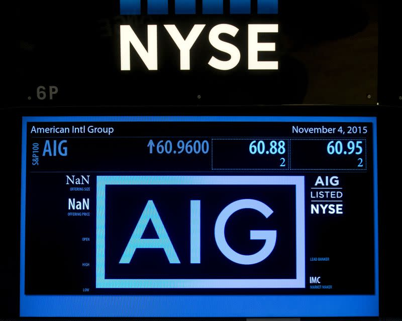 FILE PHOTO: The ticker information for insurance company American International Group Inc., (AIG) is displayed on a screen above the post where it is traded on the floor of the New York Stock Exchange
