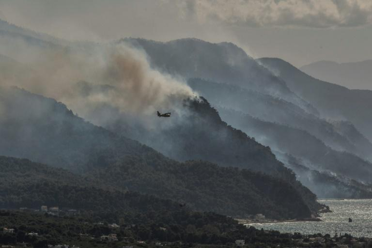 A large forest blaze is burning for a second day on the Geraneia mountain range in Greece