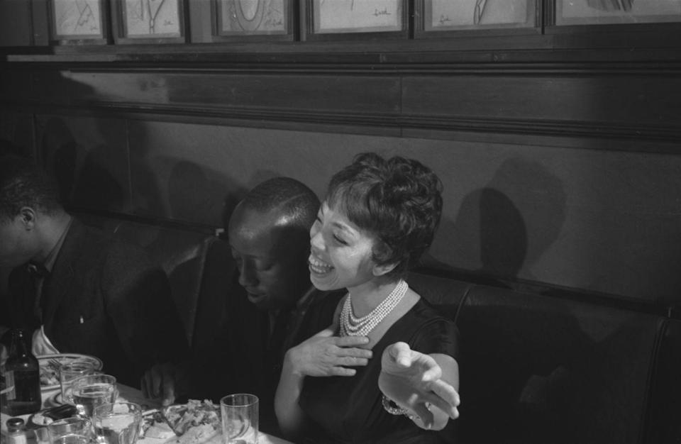<p>Diana Sands celebrates the Broadway play, <em>A Raisin in the Sun, </em>at Sardi's Restaurant in New York City. Sands became well-known for her role in the show, costarring with Oscar-winner Sidney Poitier. </p>