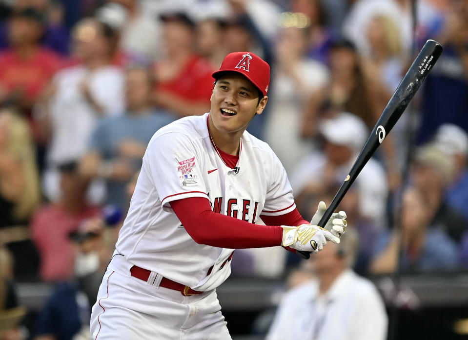 DENVER, COLORADO - JULY 12: Shohei Ohtani #17 of the Los Angeles Angels bats during the 2021 T-Mobile Home Run Derby at Coors Field on July 12, 2021 in Denver, Colorado. (Photo by Dustin Bradford/Getty Images)