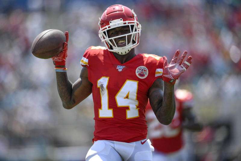Sep 8, 2019; Jacksonville, FL, USA; Kansas City Chiefs wide receiver Sammy Watkins (14) reacts after scoring his second touchdown of the game during the first quarter against the Jacksonville Jaguars at TIAA Bank Field. Mandatory Credit: Douglas DeFelice-USA TODAY Sports