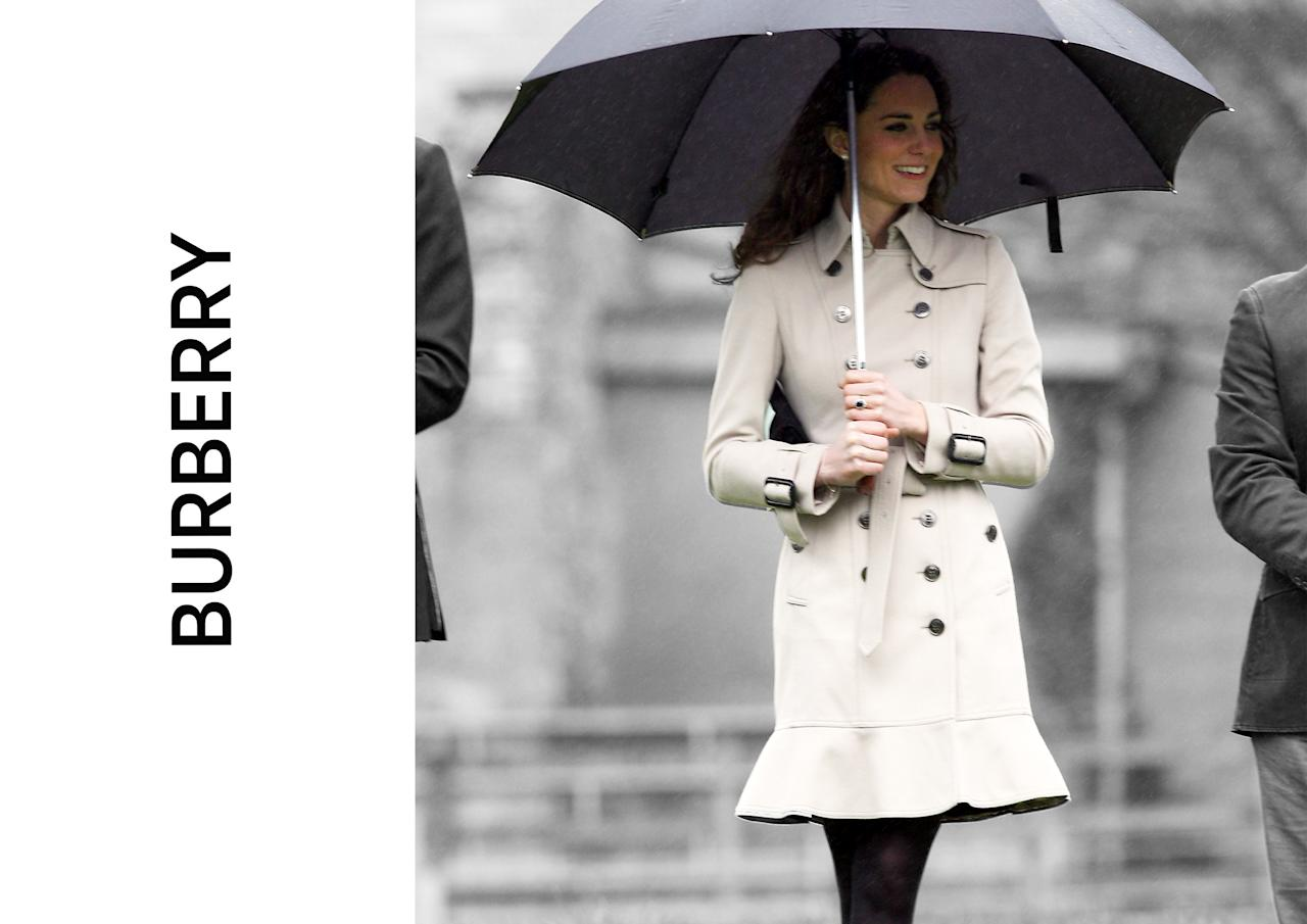 <p><b><b>Flying the flag for Britain during a trip to Northern Ireland in 2011, Kate's fans were quick to pick up on the royal's flared hem Burberry trench. To date, it marks the only time the mum-of-two's worn the heritage label.<br /><em>[Photos: PA/Yahoo Style UK]</em> </b></b></p>
