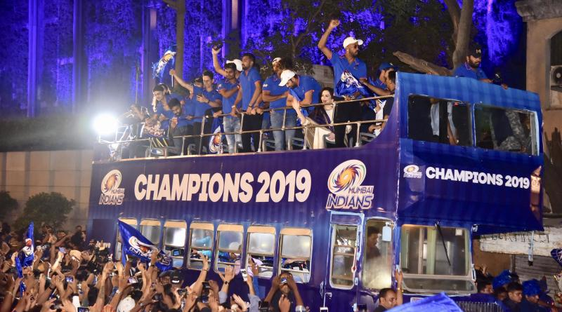 MUMBAI, MAHARASHTRA-MAY 13: IPL Team, Mumbai Indians clicked along with Nita Ambani at Antilia after they won IPL cup 2019 in Mumbai. (Photo by Milind Shelte/The India Today Group via Getty Images)