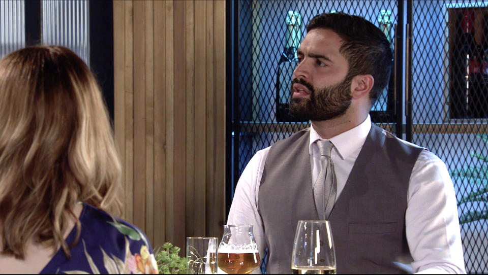 FROM ITV  STRICT EMBARGO - No Use Before Tuesday 10th August 2021  Coronation Street - Ep 1040809  Friday 20th August 2021  When Leanne Battersby [JANBE DANSON] tells Imran Habeeb [CHARLIE DE MELO] sheÕs firmly on AbiÕs side, not KellyÕs, a stressed Imran erupts.   Picture contact David.crook@itv.com   This photograph is (C) ITV Plc and can only be reproduced for editorial purposes directly in connection with the programme or event mentioned above, or ITV plc. Once made available by ITV plc Picture Desk, this photograph can be reproduced once only up until the transmission [TX] date and no reproduction fee will be charged. Any subsequent usage may incur a fee. This photograph must not be manipulated [excluding basic cropping] in a manner which alters the visual appearance of the person photographed deemed detrimental or inappropriate by ITV plc Picture Desk. This photograph must not be syndicated to any other company, publication or website, or permanently archived, without the express written permission of ITV Picture Desk. Full Terms and conditions are available on  www.itv.com/presscentre/itvpictures/terms