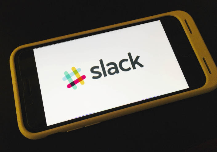Photo by: STRF/STAR MAX/IPx 2021 1/4/21 Slack restores service after starting 2021 with outage. STAR MAX File Photo: 11/30/20 'Slack' logo shot off an iphone SE 2020.