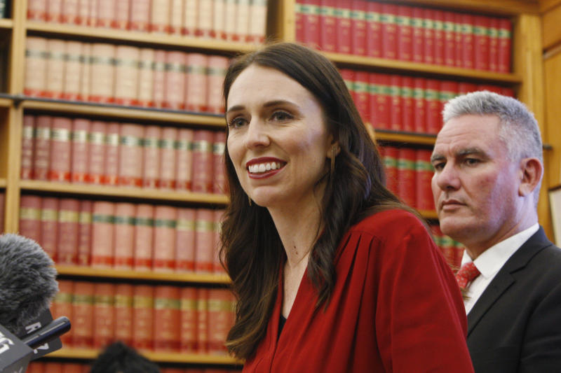 Jacinda Ardern talks to reporters Thursday, Oct. 19, 2017, in Wellington, New Zealand. Ardern will be New Zealand's next prime minister and hopes to take the country on a more liberal path following nine years of rule by the conservatives. (AP Photo/Nick Perry)