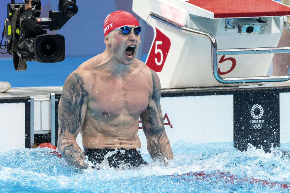 TOKYO, JAPAN - JULY 26: Adam Peaty of Great Britain celebrates after competing in the men 100m Breaststroke final during the Tokyo 2020 Olympic Games at the Tokyo Aquatics Centre on July 26, 2021 in Tokyo, Japan (Photo by Giorgio Scala/Deepbluemedia/Insidefoto)/Sipa USA