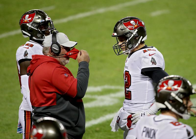 Bucs coach Bruce Arians of the Tampa Bay Buccaneers told Tom Brady to sneak it on fourth down deep in his own territory. (Photo by Jonathan Daniel/Getty Images)