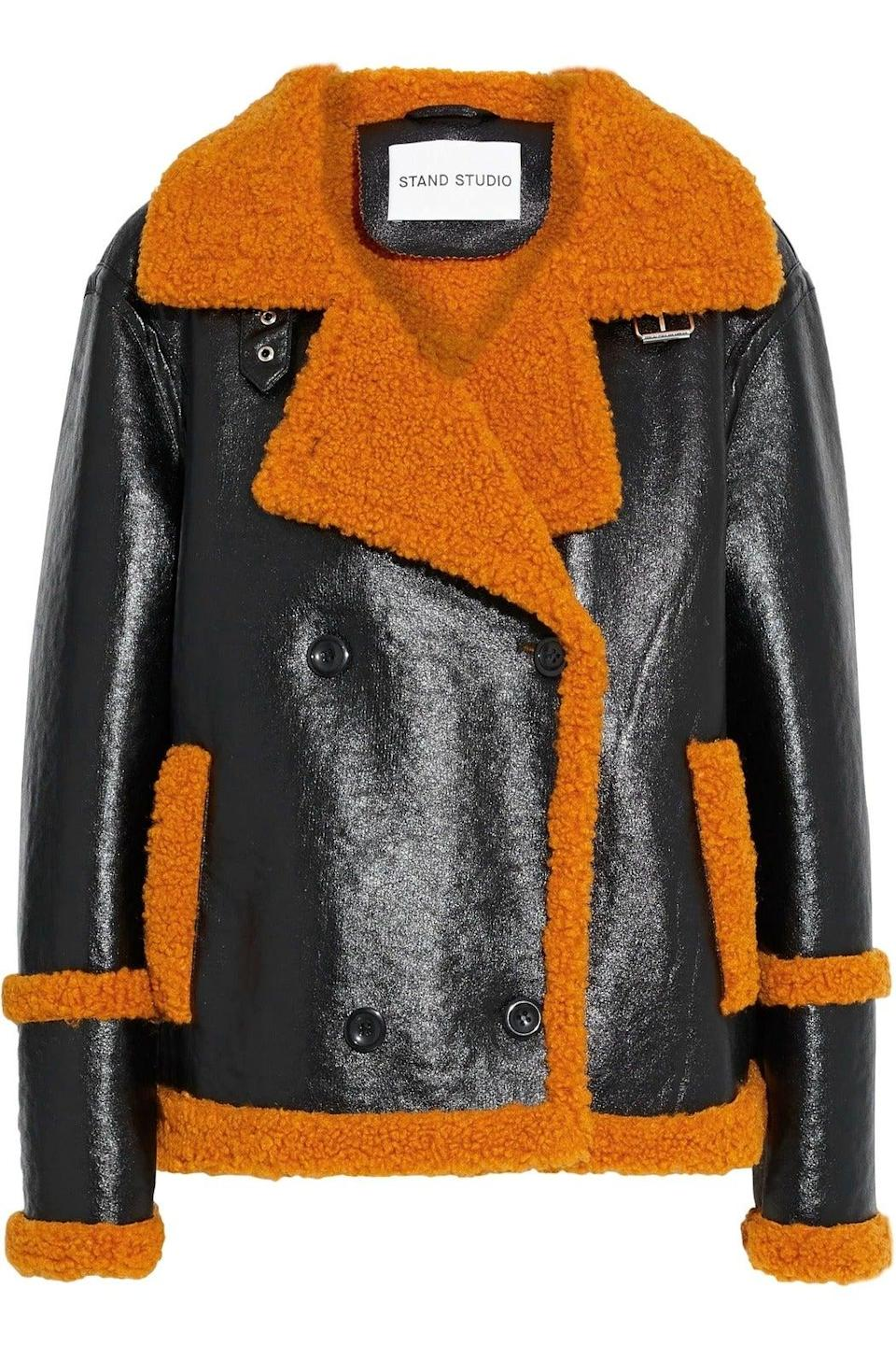 """<br><br><strong>Stand Studio</strong> Glossed Faux Shearling Jacket, $, available at <a href=""""https://www.theoutnet.com/en-gb/shop/product/stand-studio/jackets/casual-jackets/lilli-double-breasted-glossed-faux-shearling-jacket/19971654707623875?tp=175320&cm_mmc=PartnerizeUK&EU&utm_campaign=laurenlyst&utm_medium=affiliation&utm_source=PartnerizeUK&EU&laurenlyst=laurenlyst"""" rel=""""nofollow noopener"""" target=""""_blank"""" data-ylk=""""slk:The Outnet"""" class=""""link rapid-noclick-resp"""">The Outnet</a>"""