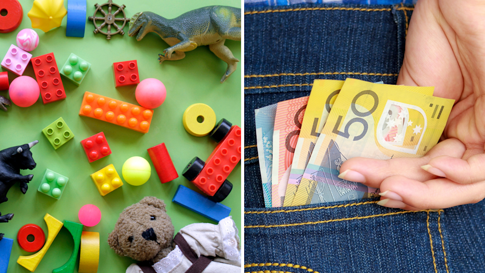 Toys including LEGO on green background, woman with Australian cash in jean pocket.