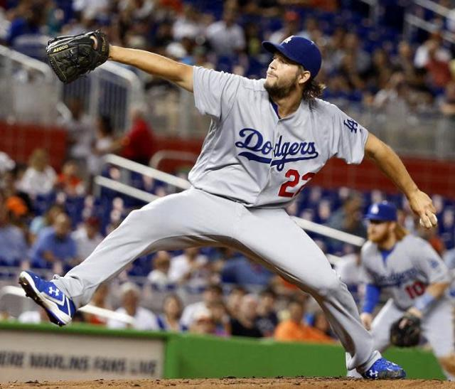 Clayton Kershaw delivers a pitch during his Dodgers return in Miami. (AP)