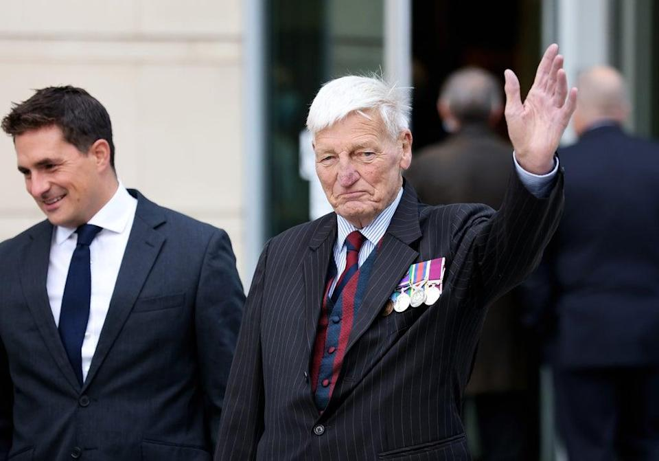 Dennis Hutchings, 80, along with Johnny Mercer, left, former British Army officer and MP, arrives at Laganside Courts in Belfast last week (Peter Morrison/PA) (PA Wire)