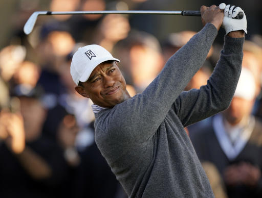 Tiger Woods tees off on the 10th hole during the second round of the Genesis Invitational golf tournament at Riviera Country Club, Friday, Feb. 14, 2020, in the Pacific Palisades area of Los Angeles. (AP Photo/Ryan Kang)