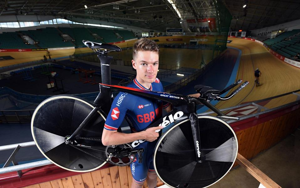 Racing cyclist Ethan Hayter at the National Cycling Centre, Manchester. - Asadour Guzelian
