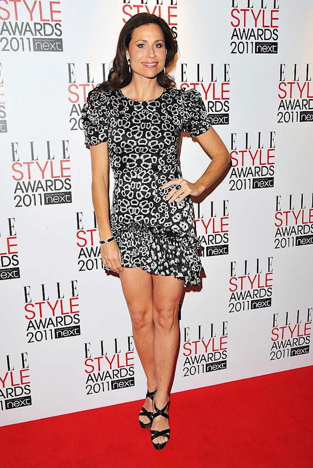 "Minnie Driver strutted her stuff in strappy sandals and a dress designed by Thomas Wylde. Jon Furniss/<a href=""http://www.wireimage.com"" target=""new"">WireImage.com</a> - February 14, 2011"