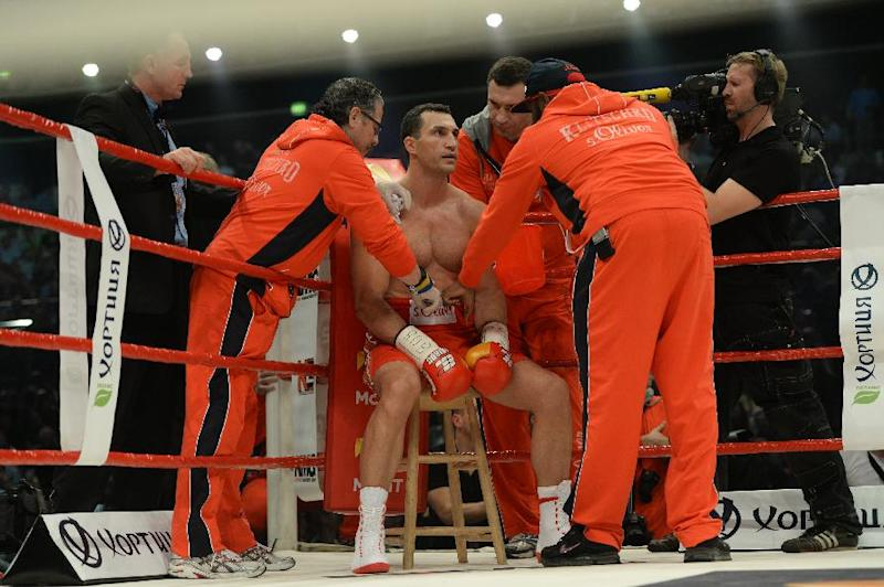 Ukrainian heavyweight boxing world champion Vladimir Klitschko during the WBA, IBF, WBO and IBO title bout aginst Australia's Alex Leapai in Oberhausen, north-western Germany, on April 26, 2014