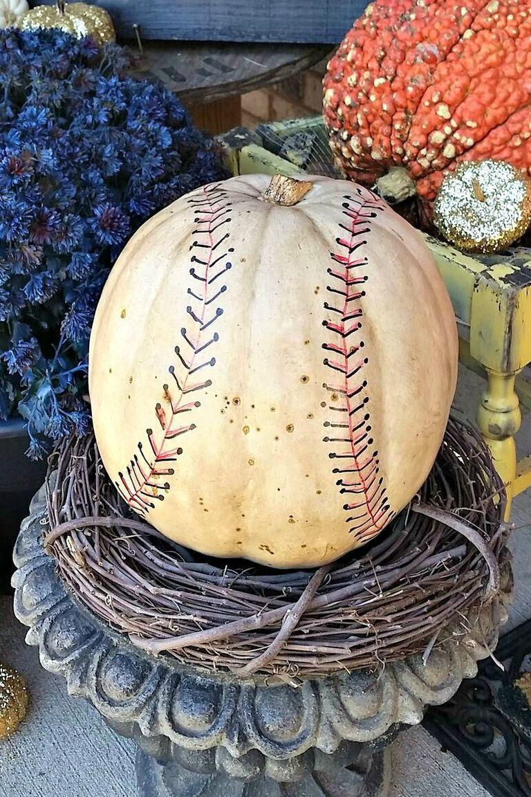 """<p>Knock it out of the park with this vintage-style baseball design. If you're into another sport (say, basketball), you can easily customize this idea to recreate the look of a different ball.</p><p><strong>Get the tutorial at <a href=""""https://jenniferallwoodhome.com/baseball-pumpkin/"""" rel=""""nofollow noopener"""" target=""""_blank"""" data-ylk=""""slk:Jennifer Allwood Home"""" class=""""link rapid-noclick-resp"""">Jennifer Allwood Home</a>.</strong></p><p><strong><strong><strong><strong><strong><strong><strong><strong><strong><a class=""""link rapid-noclick-resp"""" href=""""https://go.redirectingat.com?id=74968X1596630&url=https%3A%2F%2Fwww.walmart.com%2Fsearch%2F%3Fquery%3Dpermanent%2Bmarkers&sref=https%3A%2F%2Fwww.thepioneerwoman.com%2Fhome-lifestyle%2Fdecorating-ideas%2Fg36664123%2Fwhite-pumpkin-decor-ideas%2F"""" rel=""""nofollow noopener"""" target=""""_blank"""" data-ylk=""""slk:SHOP PERMANENT MARKERS"""">SHOP PERMANENT MARKERS</a></strong></strong></strong></strong></strong></strong></strong></strong><br></strong></p>"""