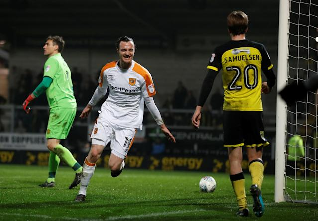 "Soccer Football - Championship - Burton Albion vs Hull City - Pirelli Stadium, Burton-on-Trent, Britain - April 10, 2018 Hull City's Will Keane celebrates scoring their fifth goal Action Images/Carl Recine EDITORIAL USE ONLY. No use with unauthorized audio, video, data, fixture lists, club/league logos or ""live"" services. Online in-match use limited to 75 images, no video emulation. No use in betting, games or single club/league/player publications. Please contact your account representative for further details."