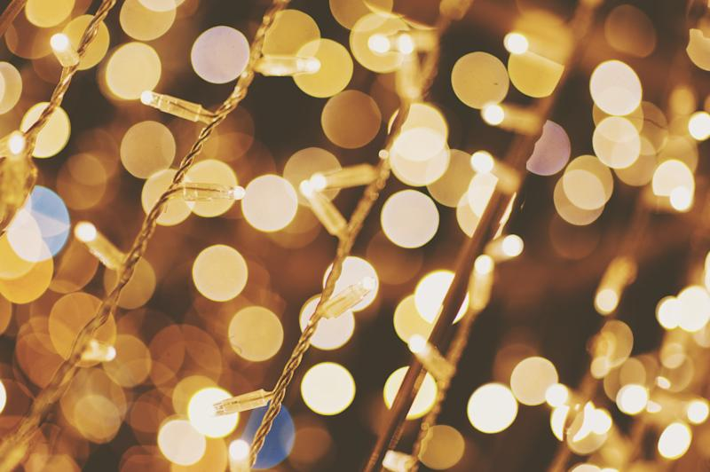 Full Frame Shot Of Illuminated String Lights and bokeh